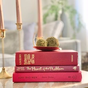 Set of 3 Shades of RED Hard Cover Books Decor